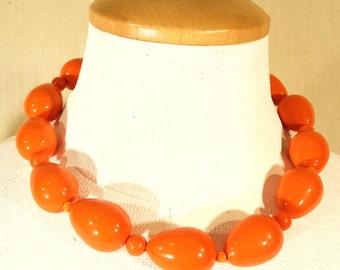 Orange Teardrop Shaped Vintage Beaded Necklace