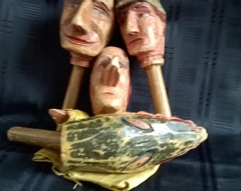 Rare Victorian Punch and Judy wooden stick puppets