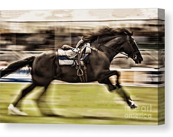 Signed Canvas print of a horse cantering with motion blur, equine equestrian horse animal nature bridle pony riding rider gift present draft