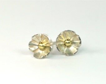 Stud earrings blossom silver gold 750 unique jewelry design hand made in germany