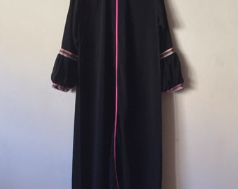 60s 70s hippie dress, vintage black maxi dress small medium