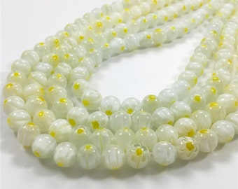 8mm Flower Glass Beads,White and Yellow Millefiori Glass Beads,Round Glass Beads