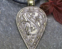 """Bronze Jewelry Celtic Jewlry Byzantine Jewelry Celtic Necklace Pendant for Luck and Protection Bronze Gift for Him Celtic Pendant """"Shield"""""""