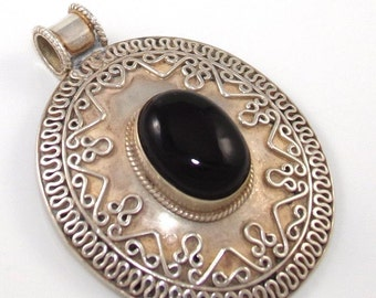 Large Vintage Modernist Sterling Silver Black Onyx Scroll Slide Pendant
