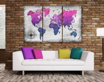 World Map Wall Canvas - Twilight