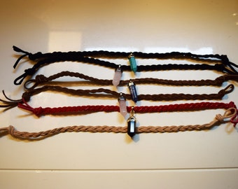 Suede Braided Choker With Pendent