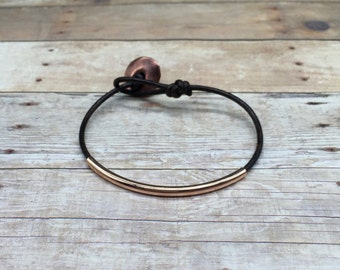 Brown leather bracelet with rose gold tube bead