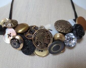 Statement Button Bib Necklace Gold