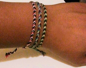 "Stackable Hand Woven ""Fishtail"" Friendship Bracelets"