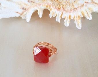 Orange carnelian ring, genuine orange carnelian ring,  women's carnelian ring, statement ring, orange gemstone ring, boho carnelian ring