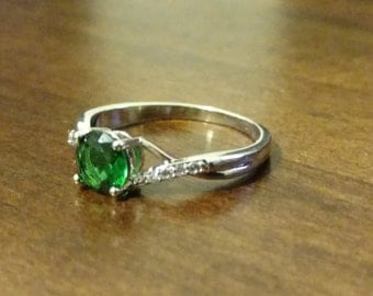Emerald Crystal Sterling Silver Ring (8)