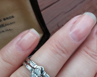 14k Gold Diamond Wedding Engagement Ring Band Set