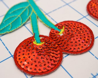 Red and Green Sequin Cherry Applique Patch