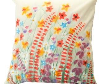 Handpainted Cushion Cover - Wildflower Design, 100% Cotton, Flower, Floral, home decor, cream, cotton, pillow, natural