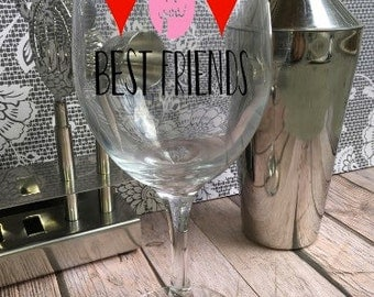 Best Friends Wine Glass - Customized Wine Glass