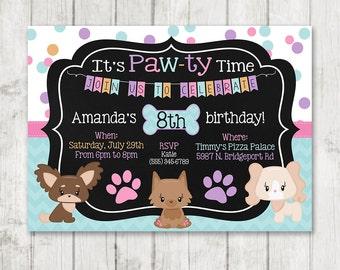Girl Puppy Birthday Invitations Printable Dog Invitations Custom Personalized Bday Invite Chalk Girly Puppy Party Doggie Birthday Paw-Ty