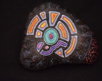 Painted stone, Xavier Gaillot Art, August 2016