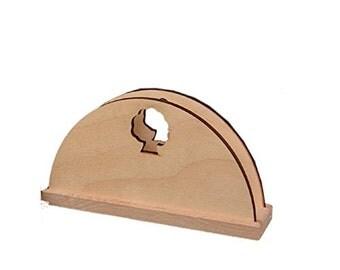 "Napkin holder ""Crescent"", decoupage, wood cm 14x10"