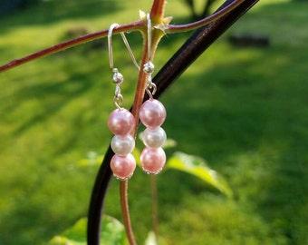 Pink Czech glass bead earrings, glass dangle earrings, glass pearl earrings. Dangle earrings