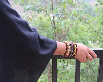 Multicolor Carved Adjustable Bracelet Hand Made in Nepal - 004