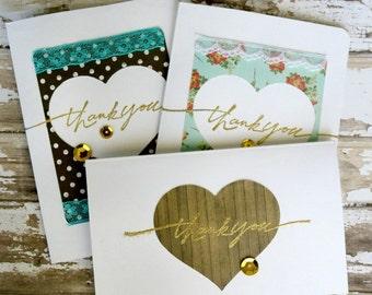 Set of three handmade Thank you cards