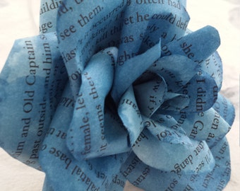 Handmade Blue Book Page Flower