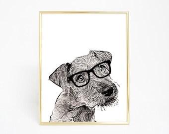 Hipster Dog - Digital Print and Poster - Drawing & Illustration - Wall Art - Printable Artwork - All Popular Sizes