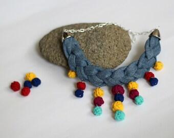 Denim braid necklace