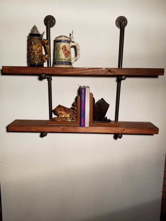 floating shelf floating double shelf 8 inch deep industrial. Black Bedroom Furniture Sets. Home Design Ideas
