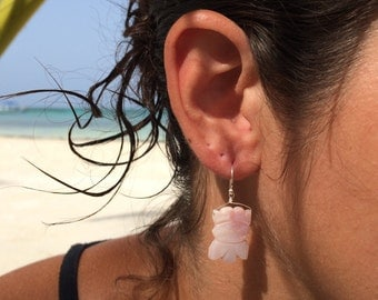 Pink Flower Carved Mother of Pearl Sterling Silver Earrings