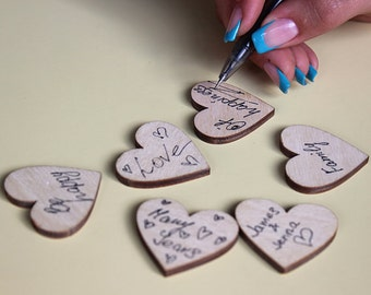 Wedding Favors 20 wooden hearts 1.5 Inches