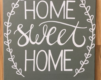 "12x12 ""Home Sweet Home"" Canvas Painting"