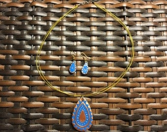 Blue polymer clay pendant and earrings