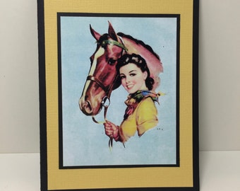 Cowgirl Note Card - Vintage Cowgirl - Western Theme - Rodeo - Handmade