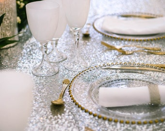Luxury top table or banquet table SILVER SEQUIN tablecloth - LOVE luxury wedding table linen!