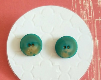 Vintage Button Stud Earrings - Surgical Steel