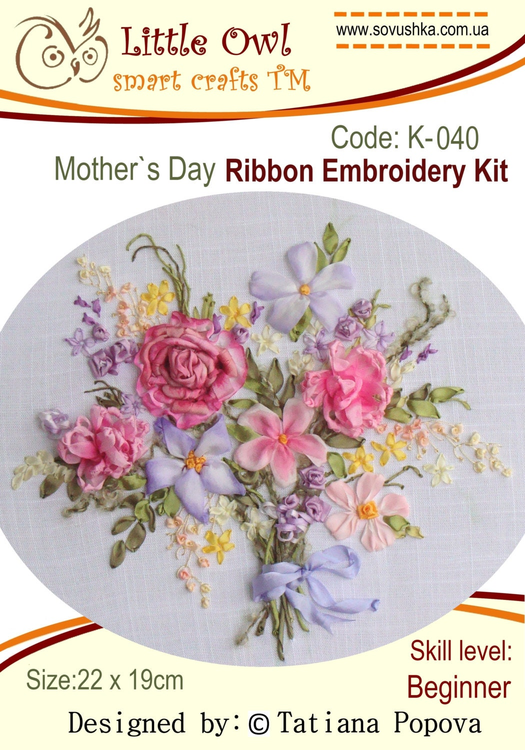 Mother s day ribbon embroidery kit from