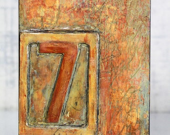Abstract, Acrylic, Orange, Encaustic Original Painting - Cell Block No.7 by Jackie M Wood