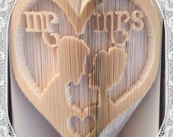 Mr & Mrs Bride and Groom Heart Book Folding Art Pattern unusual unique wedding gift