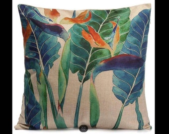 Hand Painted Floral Foliage Decorative Pillow Case
