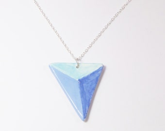 Geometric Necklace, Blue Ceramic Jewellery, Pottery Jewelry, Clay Pendant with Silver Chain