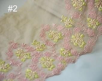 "5 yard 18cm 7.08"" wide yellow pink mesh embroidery lace trim ribbon L22K432 free ship"