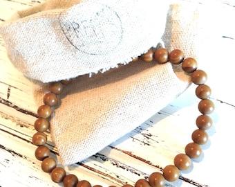 wood lace stone bracelet semi precious stone 6mm spirituality