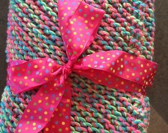 Bright and Sassy Diagonal Knit Blanket