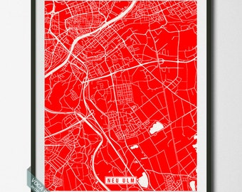 Neu Ulm Poster, Germany Poster, Neu Ulm Print, Neu Ulm Map, Germany Print, Neu-Ulm Poster, Neu-Ulm Print, Street Map, Dorm Decor