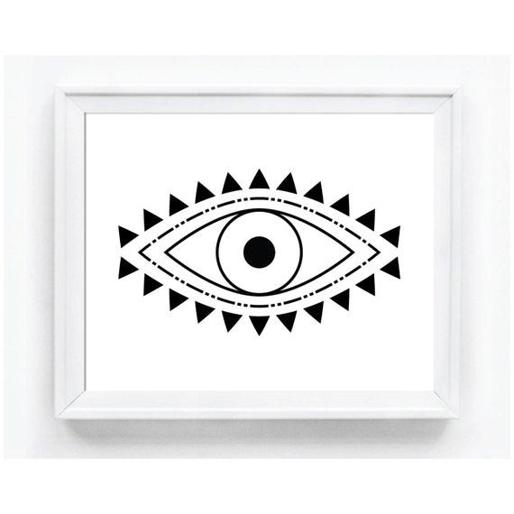 Evil Eye Print Spiritual Print Evil Eye Art By WallThreads