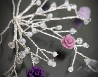 crystals and purple flower headpeice