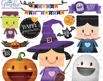 75%OFF - Halloween Clipart, Halloween Graphics, COMMERCIAL USE, Kawaii Clipart, Halloween Party, Planner Accessories, Pumpkin, Halloween