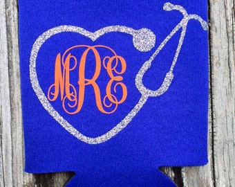 Stethoscope & Monogrammed can cooler