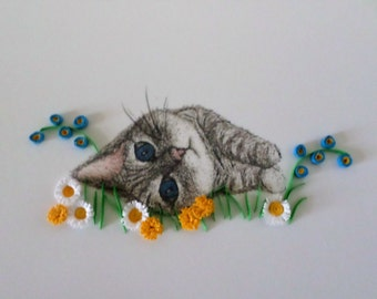 Kitten Art with Handmade Quilled Flowers - Ideal Gift for Cat Lovers - Gift for Her - Gift for Him - Kitten Drawing with Quilling